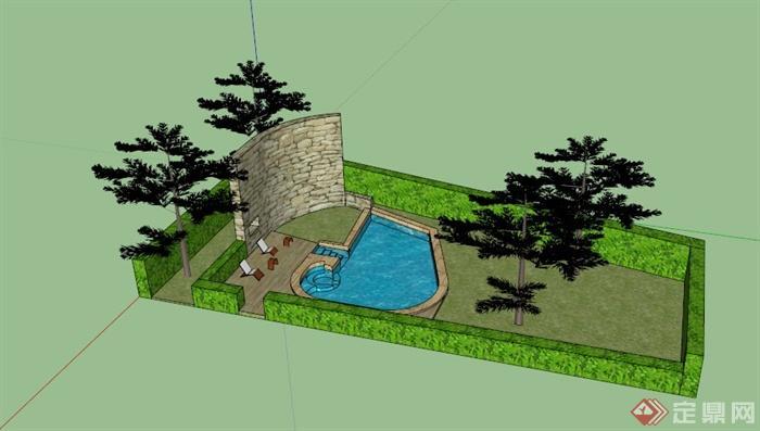 某欧式庭院花园景观规划设计su模型,该模型制作内容丰富,有水池,景墙