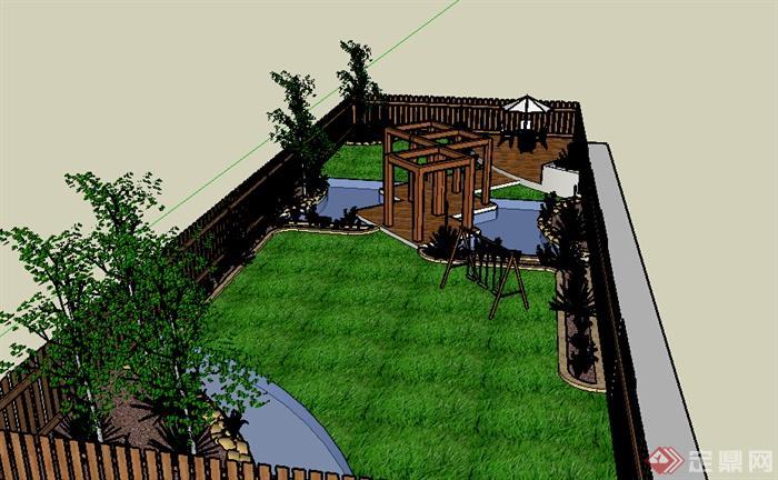 某室外庭院小花园设计su模型素材