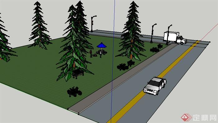 某室外道路景观设计su模型素材(2)