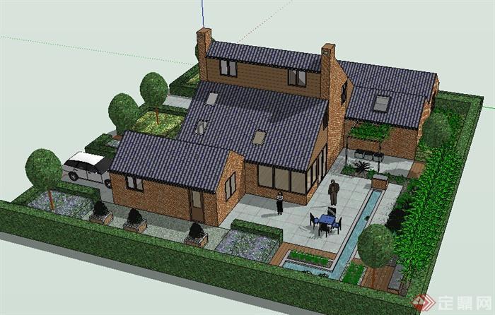 某现代风格农村自建住宅带庭院建筑设计su模型
