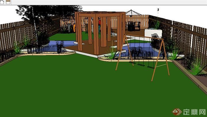 某室外庭院小花园设计su模型参考(1)