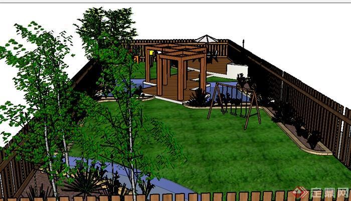 某室外庭院小花园设计su模型参考(2)