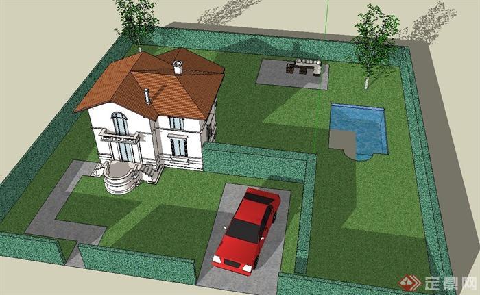 某豪华双层别墅建筑设计su模型