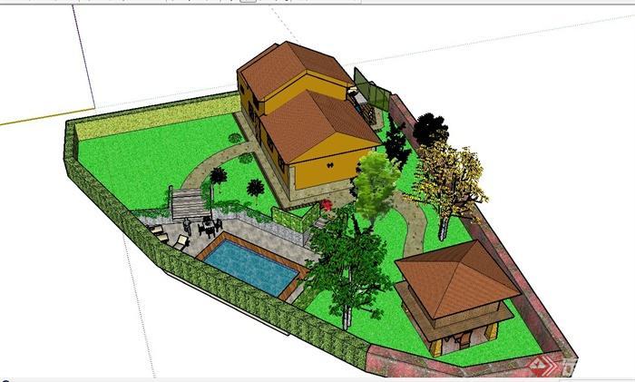 某欧式私人别墅建筑设计su模型(带庭院)