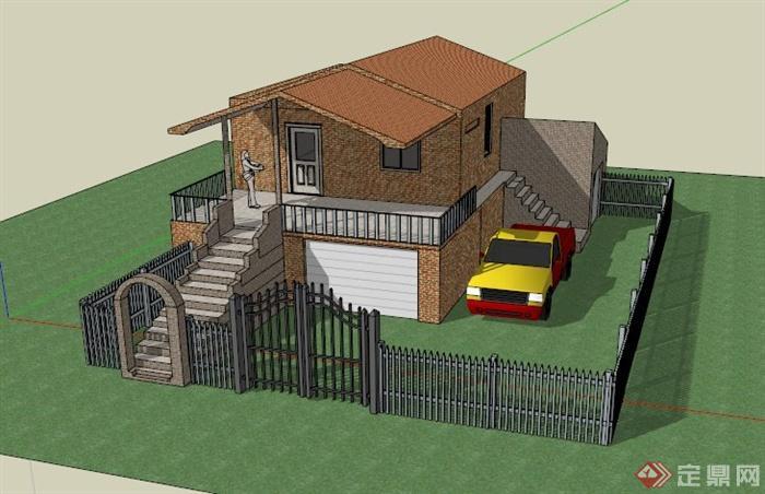 某欧式普通两层住宅建筑设计su模型(1)