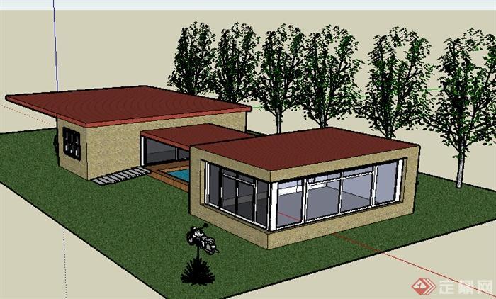某现代单层自建模型风格建筑设计SU住宅2010新人杯年室内设计图片