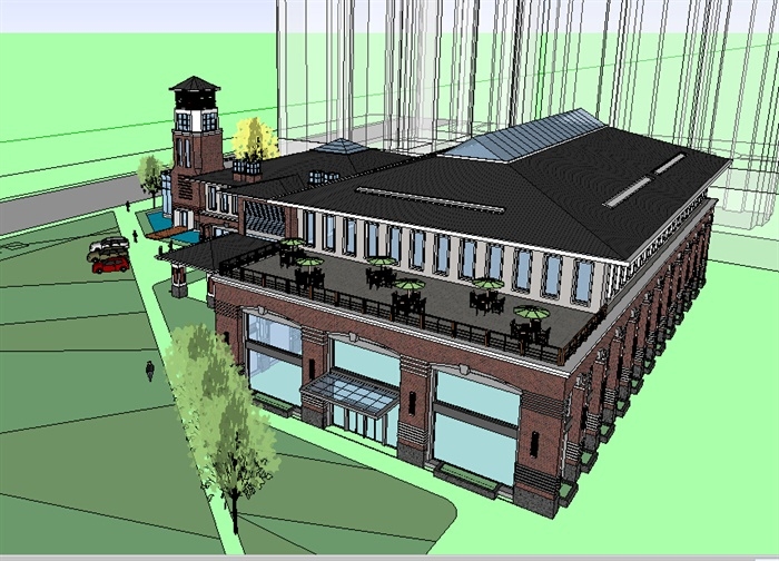 某简欧式会所建筑设计su模型,一栋带露台建筑,一栋带门亭建筑和一栋