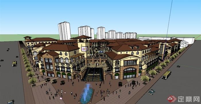 某欧式地中海风格商业中心建筑设计SU模型图片
