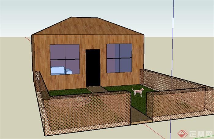 某室外小别墅房设计SU模型 含庭院