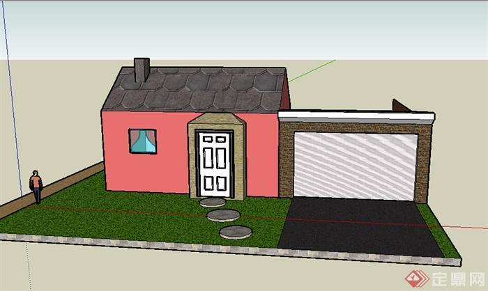 某室外小型居住民房設計su模型素材