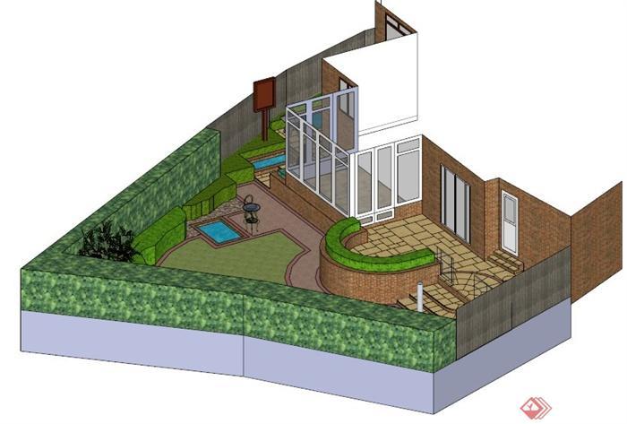 某现代三角形庭院景观设计su模型