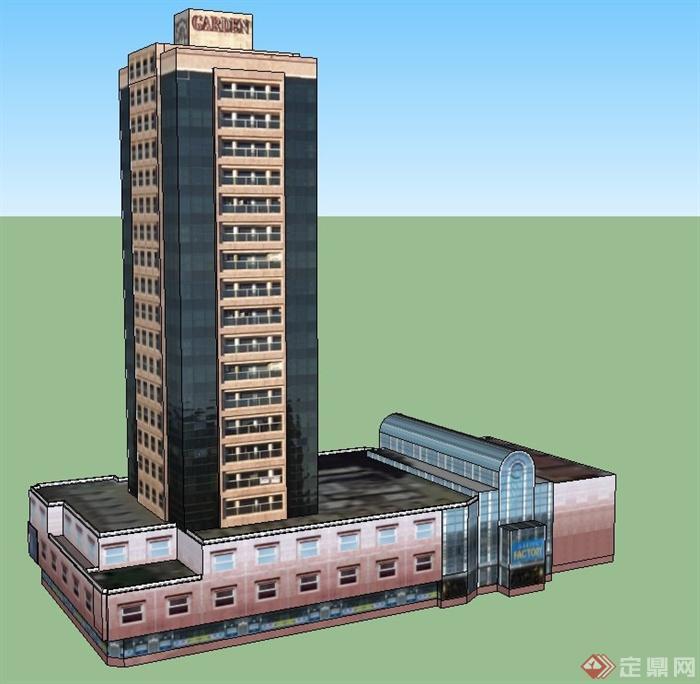 某商业大楼建筑设计su贴图模型