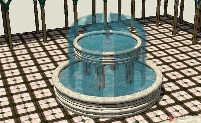 某室外欧式水景喷泉设计su模型