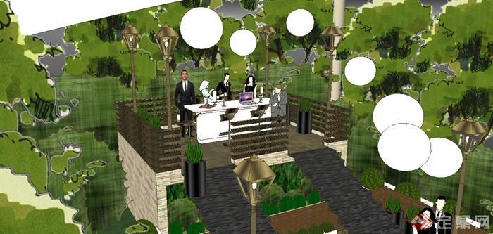某园林庭院花园派对场景su模型(2)