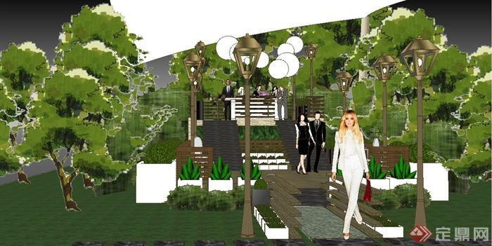 某园林庭院花园派对场景su模型(4)
