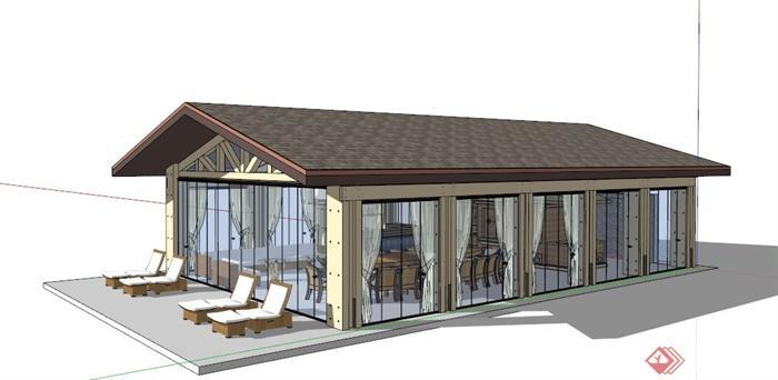某欧式小型酒吧建筑设计su模型