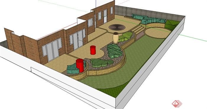 现代风格农村自建简易住宅庭院景观设计su模型