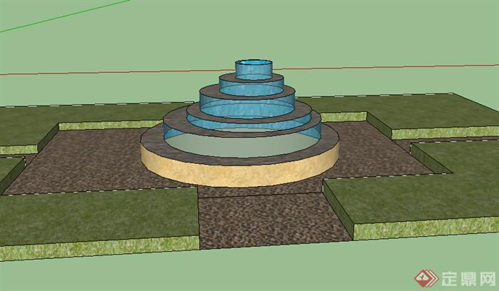 某室外跌水喷泉水景设计su模型图片