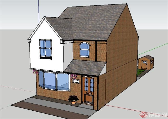 某现代二层砖砌民房住宅建筑设计SU模型