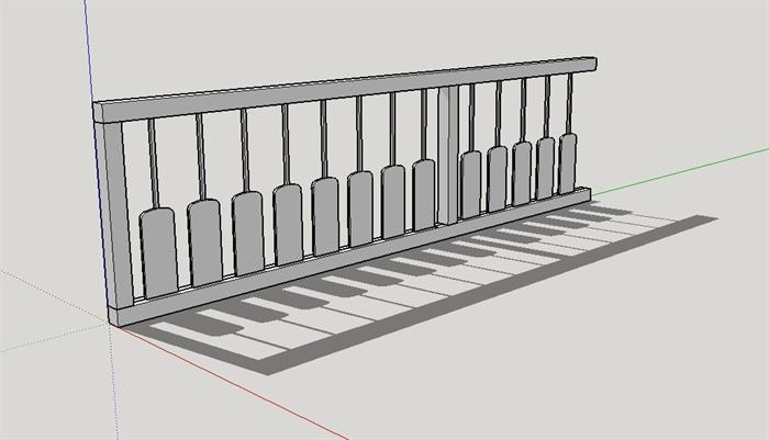 某现代钢琴栏杆设计su模型[原创]