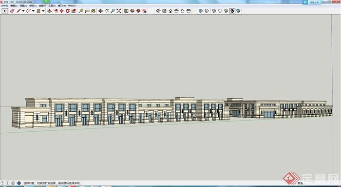 某沿街商业店铺建筑设计su模型