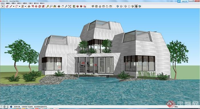 某滨水特色豪华别墅设计su模型素材