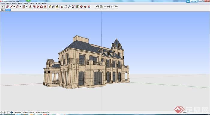 某欧式风格私人豪华住宅建筑设计su模型