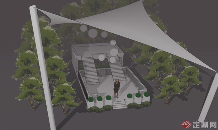 某欧式公园小品下一角景观设计su模型