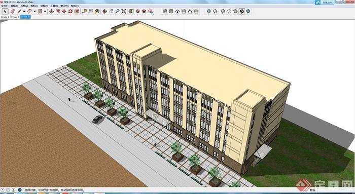 某现代风格五层办公楼建筑设计su模型