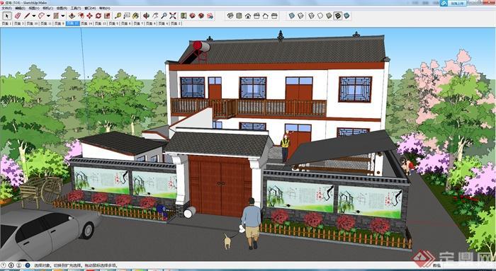 一栋双层住宅建筑设计su模型
