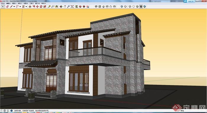 现代中式风格独栋两层住宅别墅建筑设计su模型