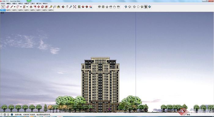 一个现代住宅楼设计su模型(含景观)