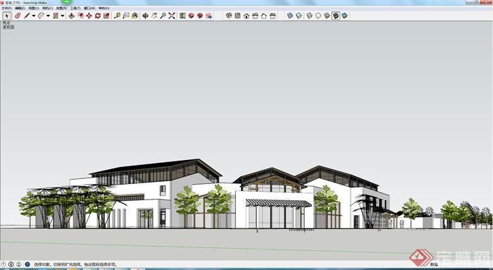 某现代中式风格商业街带廊架建筑设计su模型,这些模型设计认真,结构