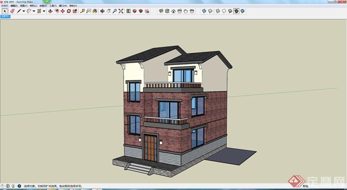 某三层带露台别墅建筑设计su模型