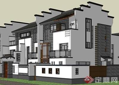 某中式小别墅建筑设计SU模型参考三层别墅抗震图片