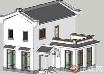 一个新中式小素材建筑设计SU别墅模型厂房产江苏别墅南头图片