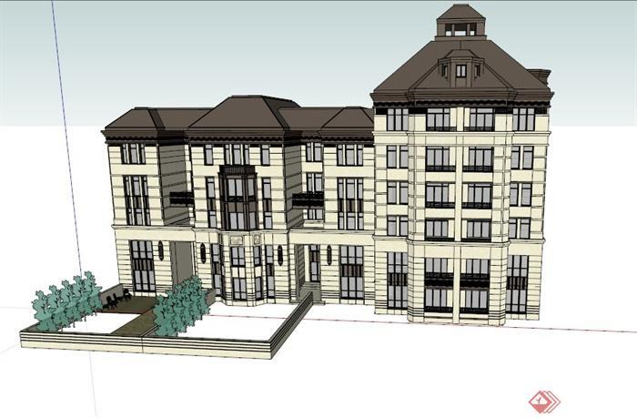 > 某欧式多层精致住宅建筑设计su模型,该模型制作精致,外观大方得体