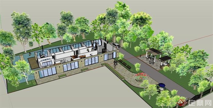 某欧式住宅建筑周边景观规划设计su模型
