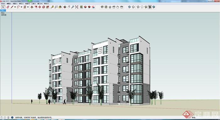 某地一现代中式风格六层住宅楼建筑设计su模型