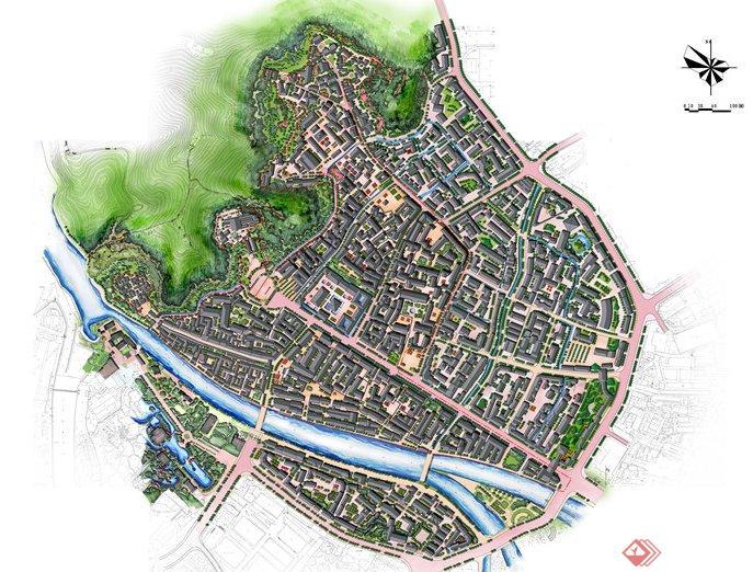 六个地方古镇城市规划与建筑设计效果图 1高清图片