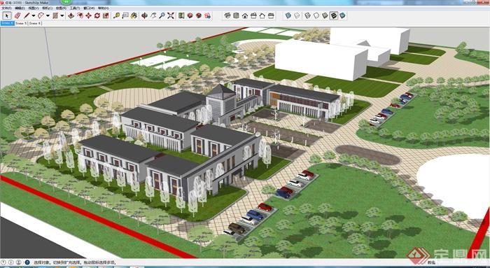 现代风格多层办公建筑带停车场建筑设计su模型