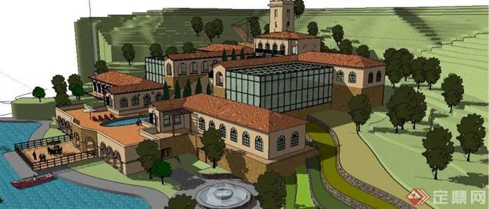 某豪华欧式会所建筑设计su模型