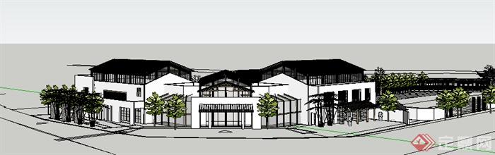 某现代中式风格商业街带廊架建筑设计su模型