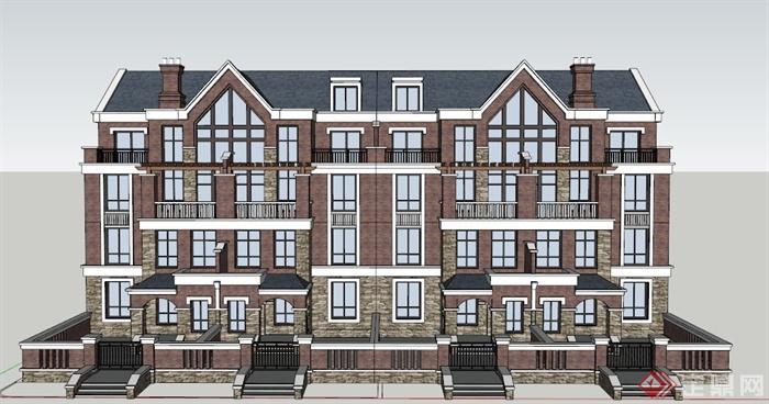 某欧式四层公寓模型建筑设计SU住宅ndav公寓建筑设计(上海)有限公司图片