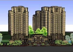 某欧式住宅小区入口景观设计SU(草图大师)模型-3D模型园林景观