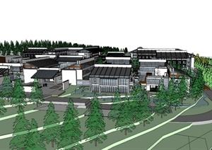 某日式住宅区住宅建筑设计SU(草图大师)模型-3D模型SKP园林景观