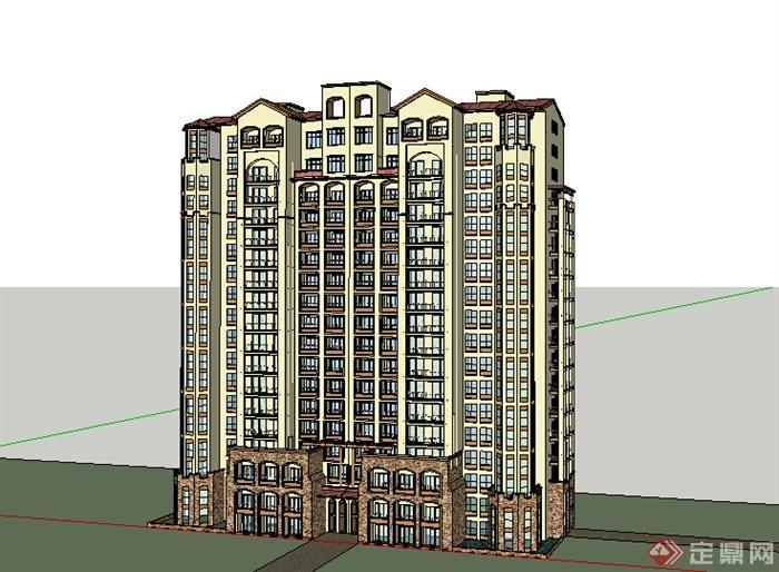 某简欧风格住宅楼建筑su模型素材