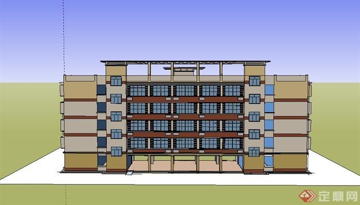 某现代五层中学学校教学楼建筑设计SU模型,模型制作完整细致,色彩搭配简洁,美观大方,细节处理到位,可以供广大建筑设计爱好者使用,也可用作同类项目。