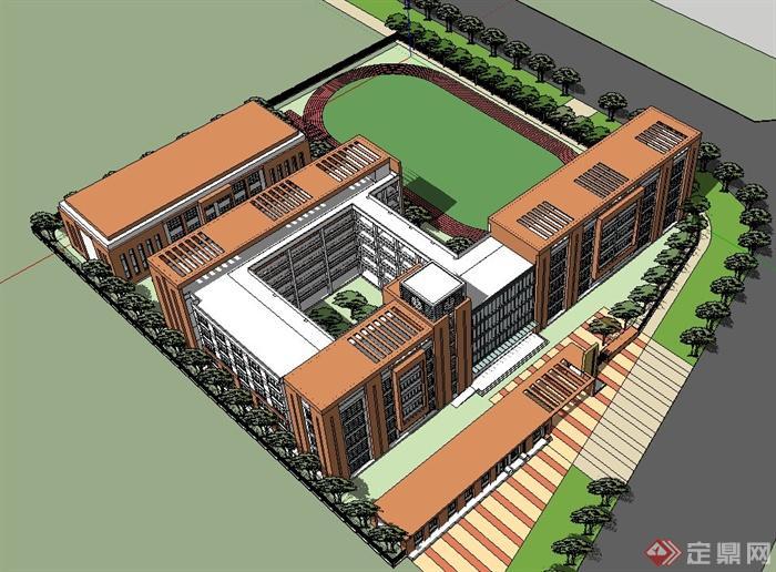 某v模型模型建筑设计su年级小学语文小学一s版图片