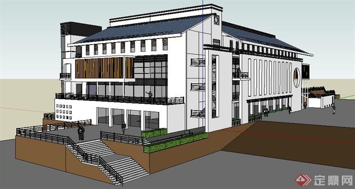 某中学小学学校现代中式综合楼建筑设计SU模型高清图片